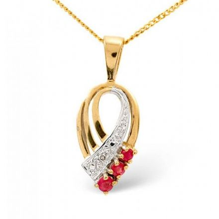 9K Gold 2.25mm Ruby Pendant, Z1057